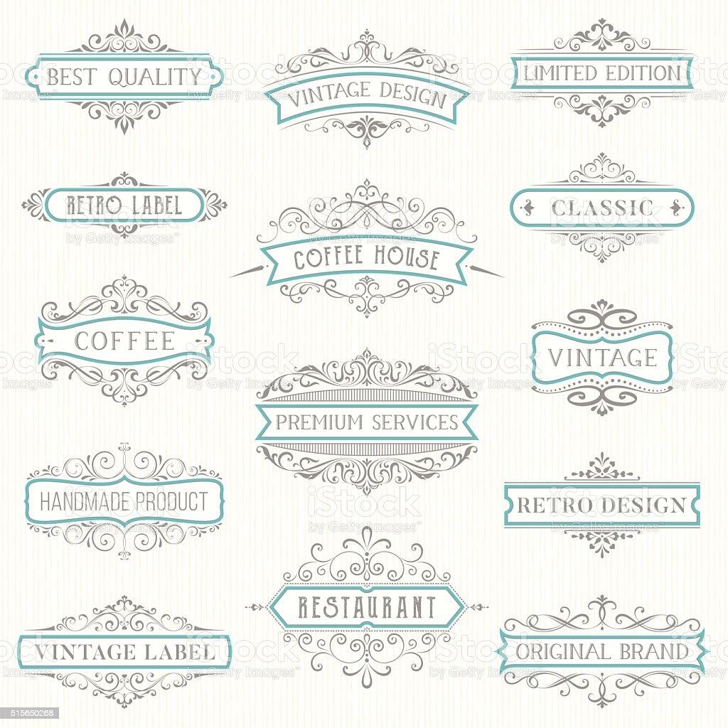Ornate Vintage Labels vector art illustration