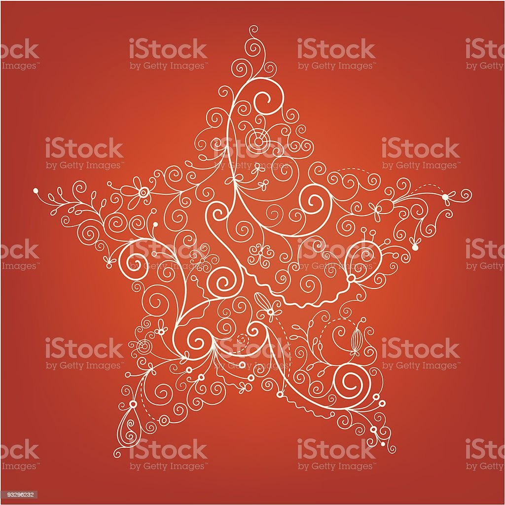 Ornate white stenciled Christmas star on red background  royalty-free stock vector art