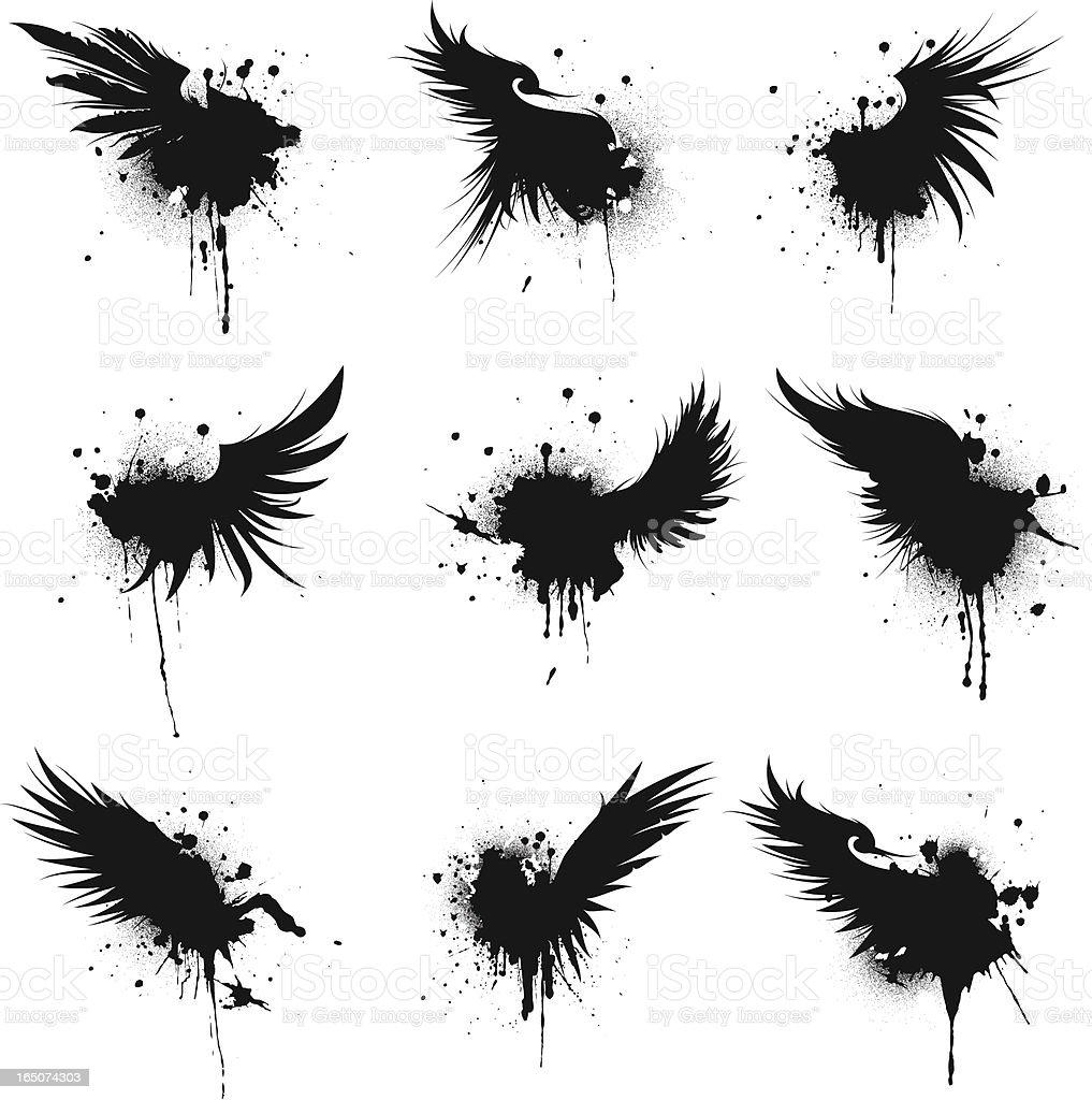 ornate wing splatter II royalty-free stock vector art