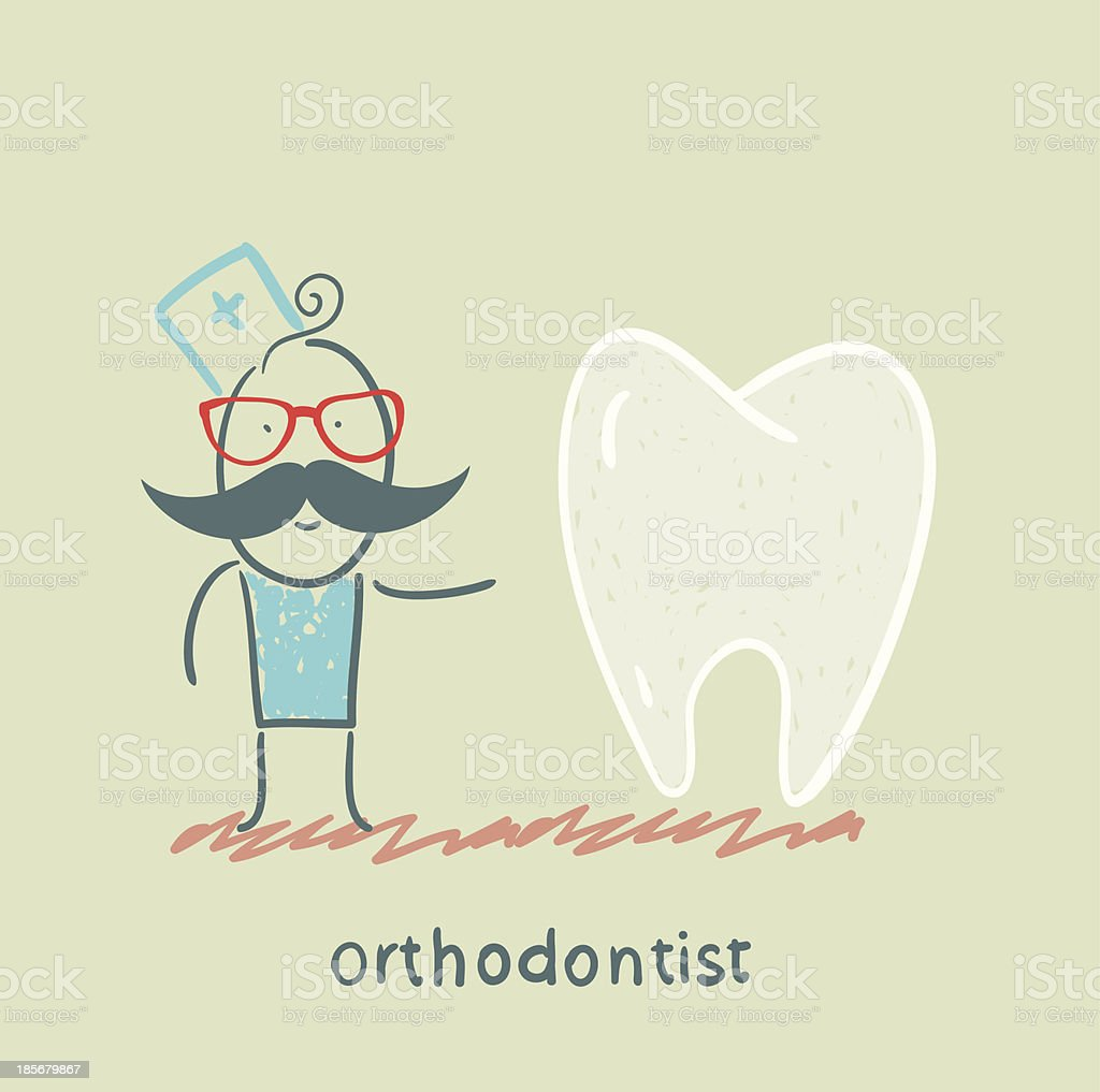 orthodontist is with great teeth royalty-free stock vector art