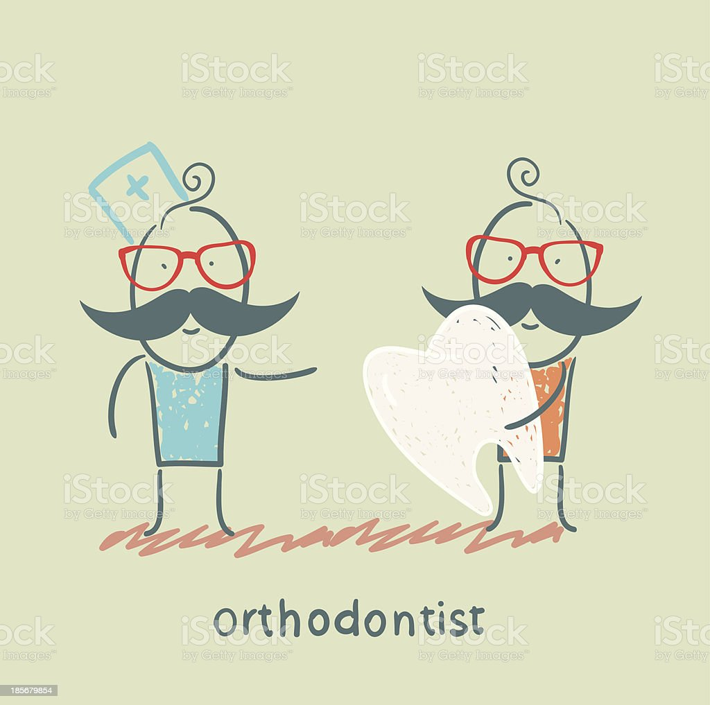 orthodontist patient receives a bad tooth royalty-free stock vector art