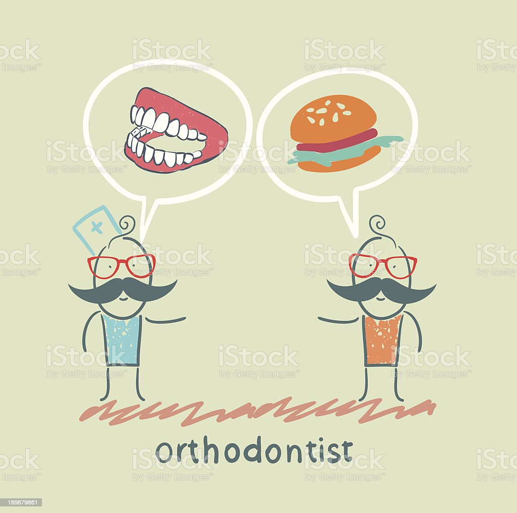 orthodontist says to the patient's teeth and eating royalty-free stock vector art