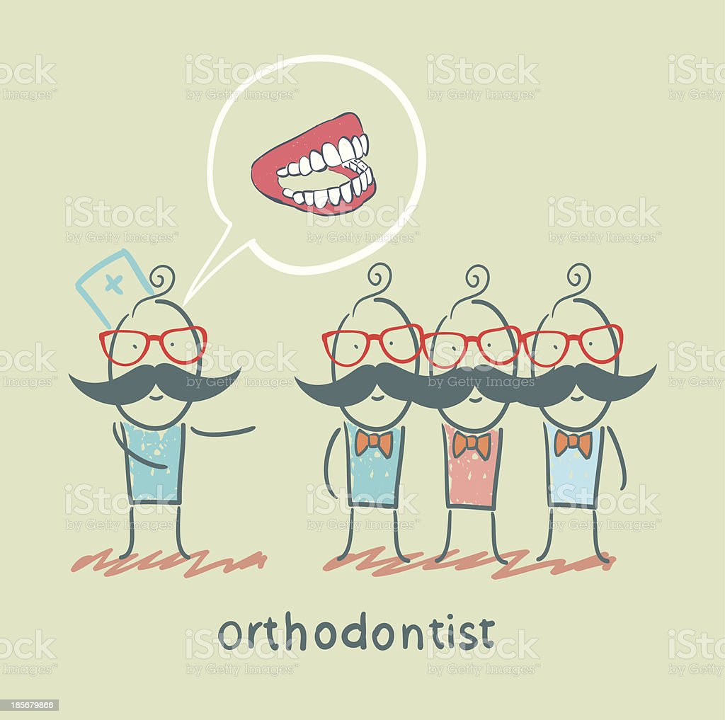 orthodontist says with patients about their teeth royalty-free stock vector art