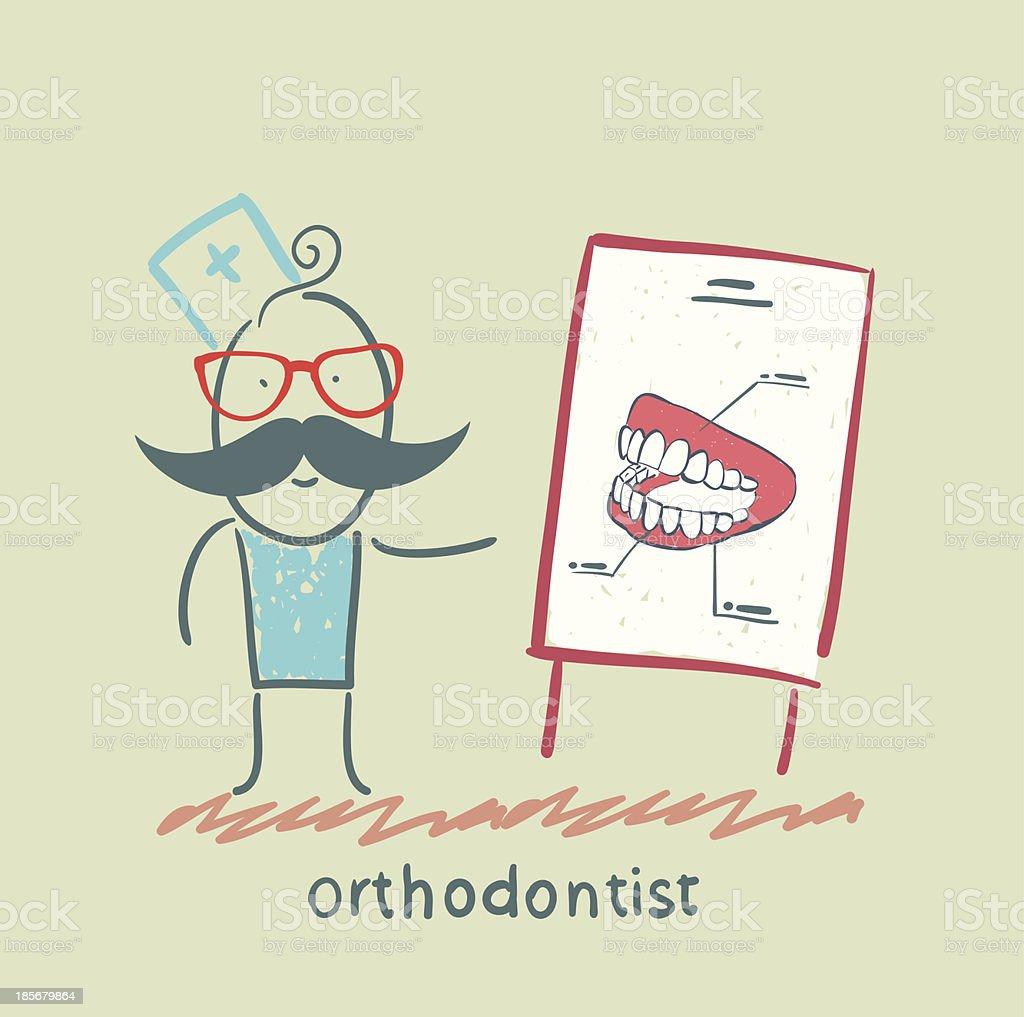 orthodontist tells presentation about teeth royalty-free stock vector art