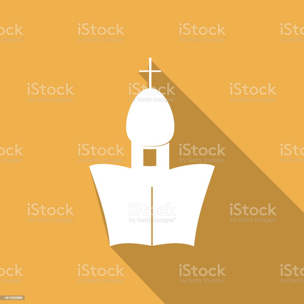 Orthodox Cathedral Church with a long shadow vector art illustration