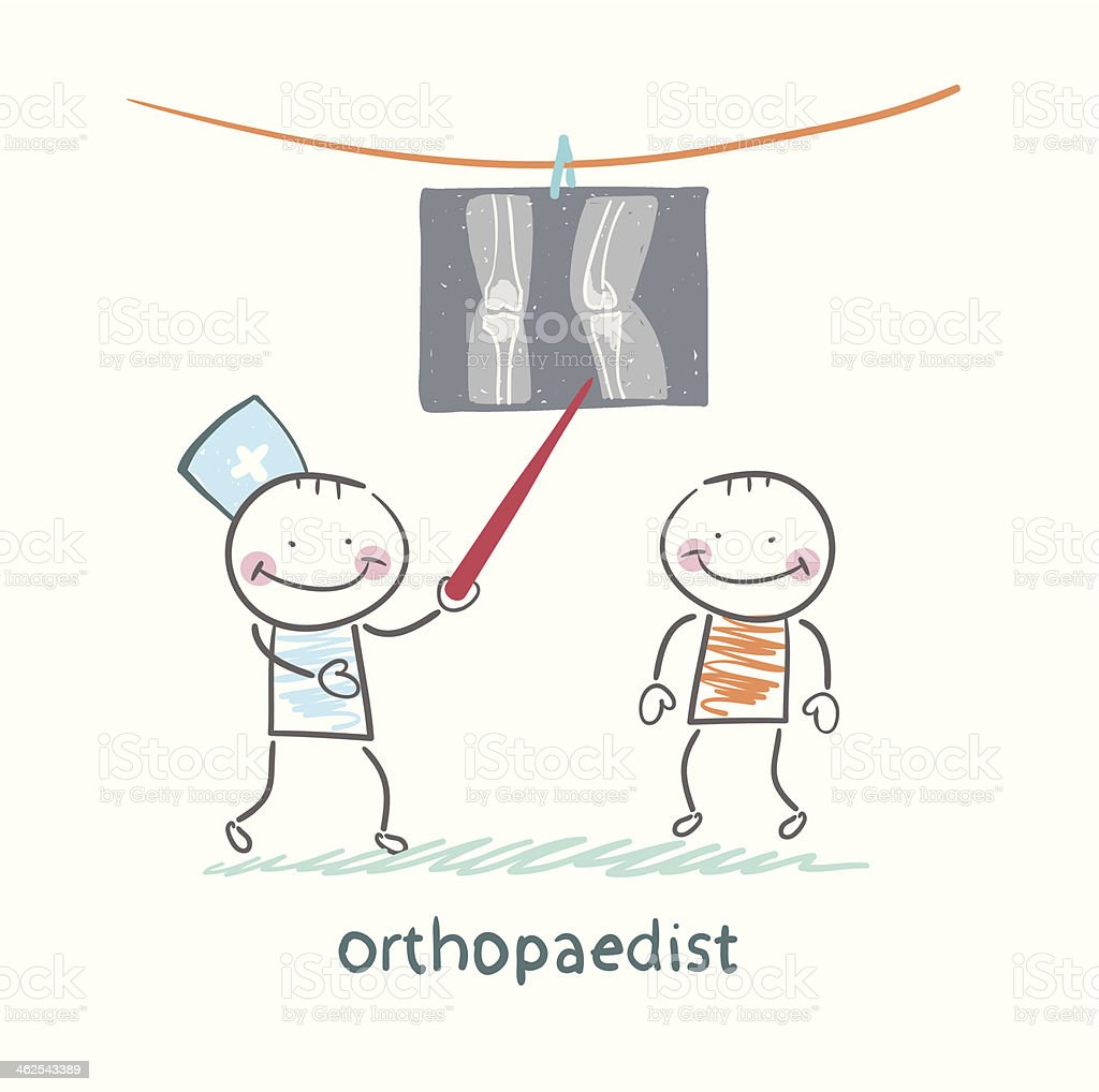 orthopaedist patient shows an X-ray royalty-free stock vector art