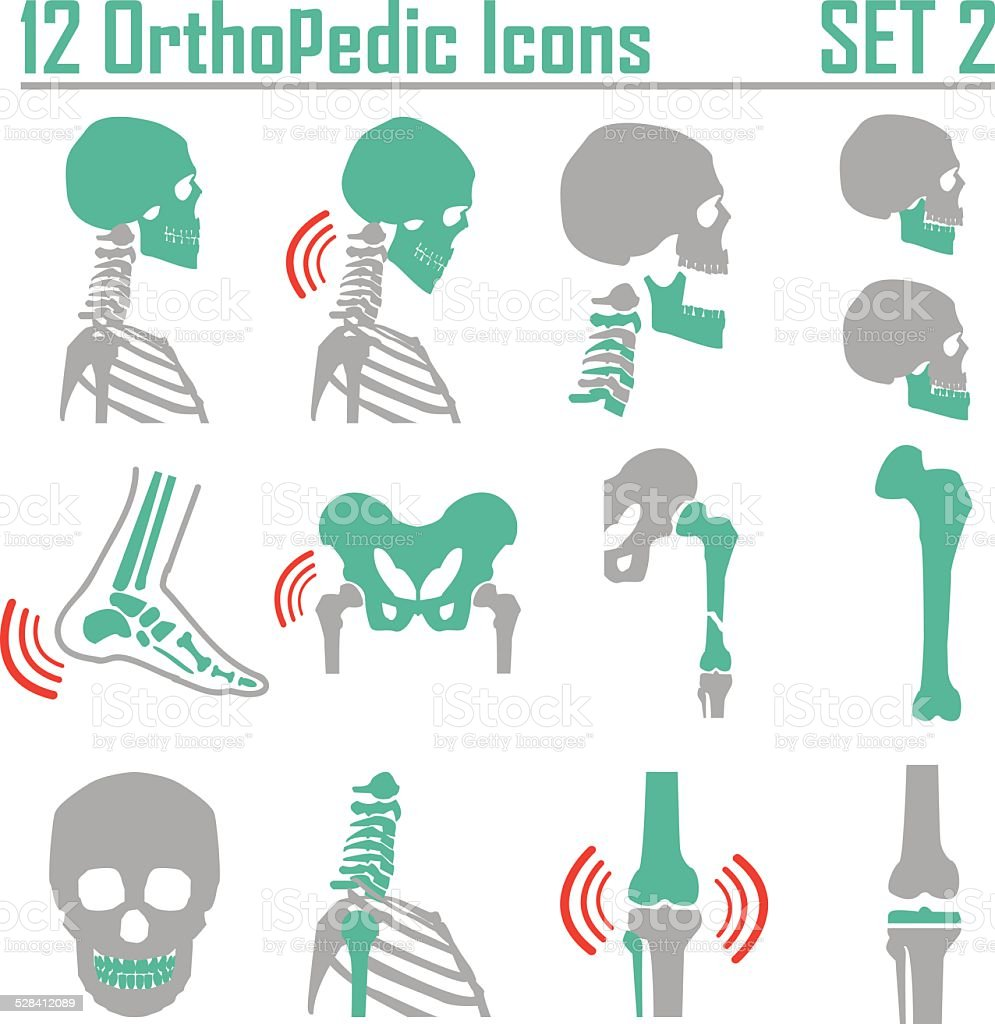 Orthopedic and spine symbol Set 2 vector art illustration