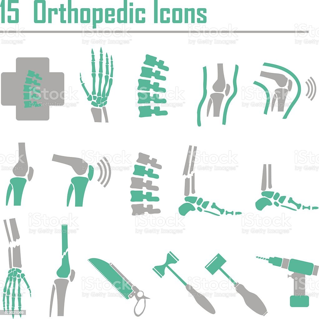 15 Orthopedic and spine symbol - vector illustration vector art illustration
