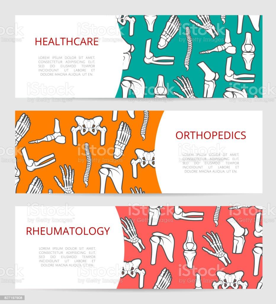 Orthopedics, rheumatology clinic banner template vector art illustration