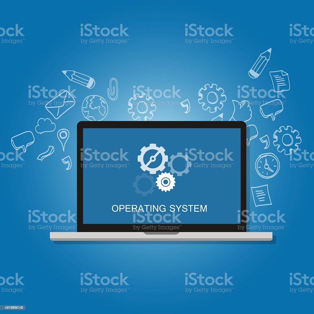 os operating system software computer laptop screen gear icon concept vector art illustration