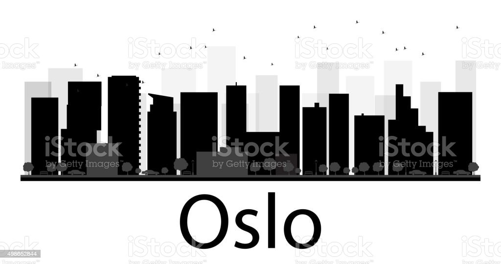 Oslo City skyline black and white silhouette vector art illustration