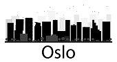 Oslo City skyline black and white silhouette
