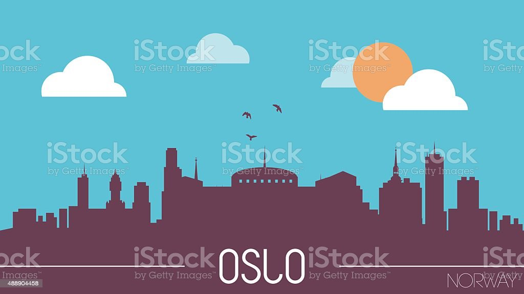 Oslo Norway skyline silhouette vector art illustration