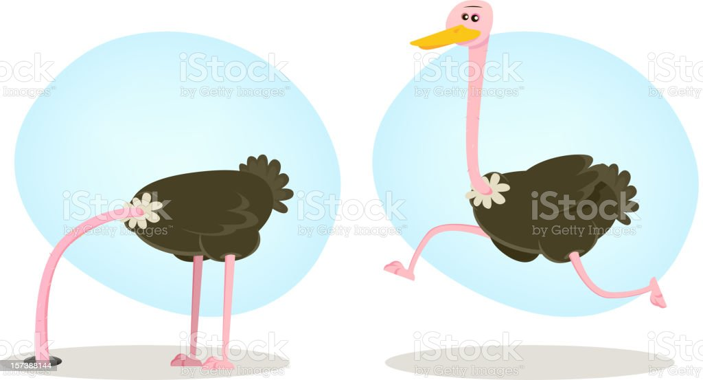Ostrich Running And Hiding From World royalty-free stock vector art