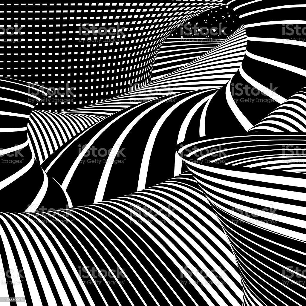 Other Worldly Landscape In Space vector art illustration