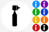 Otoscope Icon on Flat Color Circle Buttons