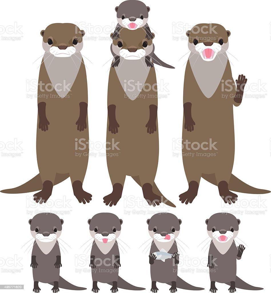 Otter family vector art illustration
