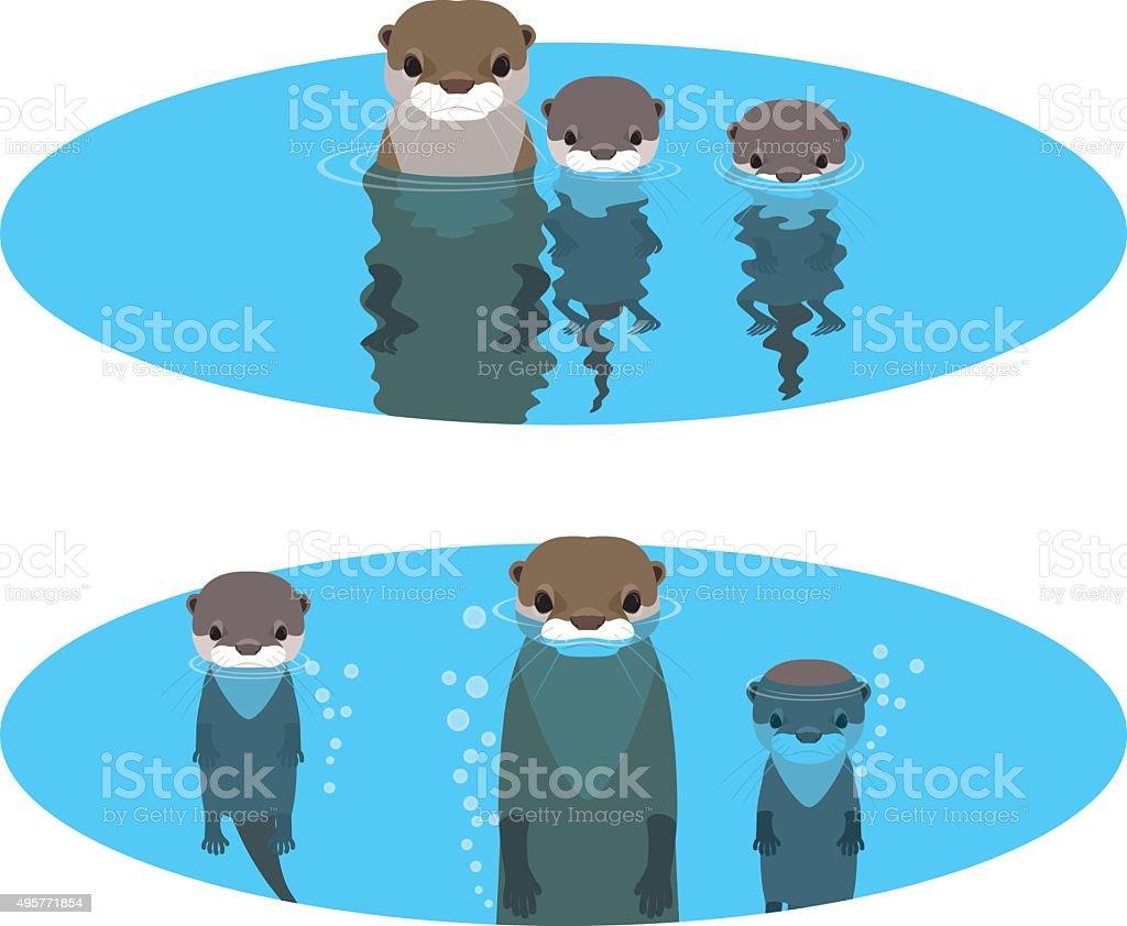 Otter in the pond vector art illustration