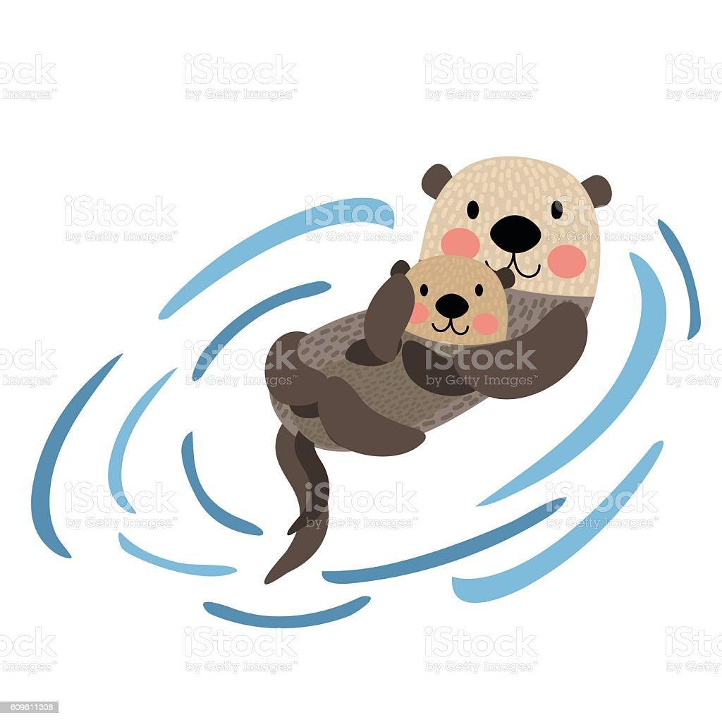 Otter mother and child animal cartoon character vector illustration. vector art illustration