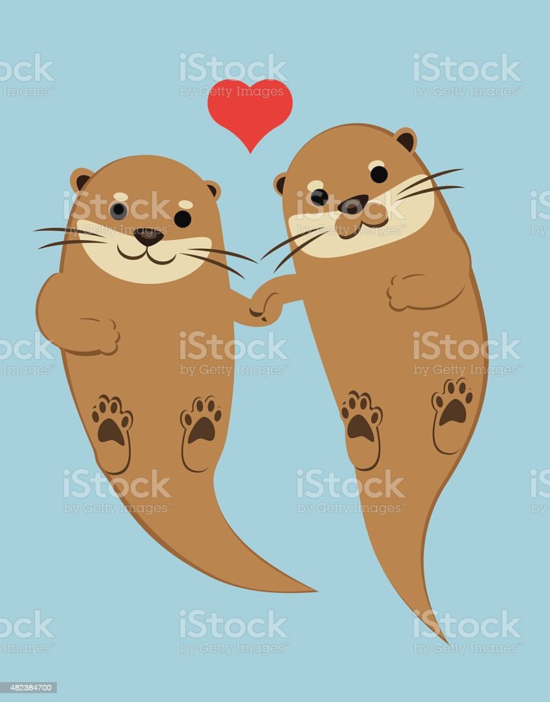 Otters Holding Paws vector art illustration