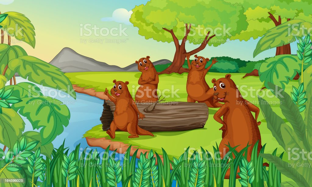 Otters royalty-free stock vector art
