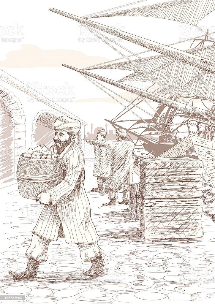 Ottoman port, istanbul royalty-free stock vector art
