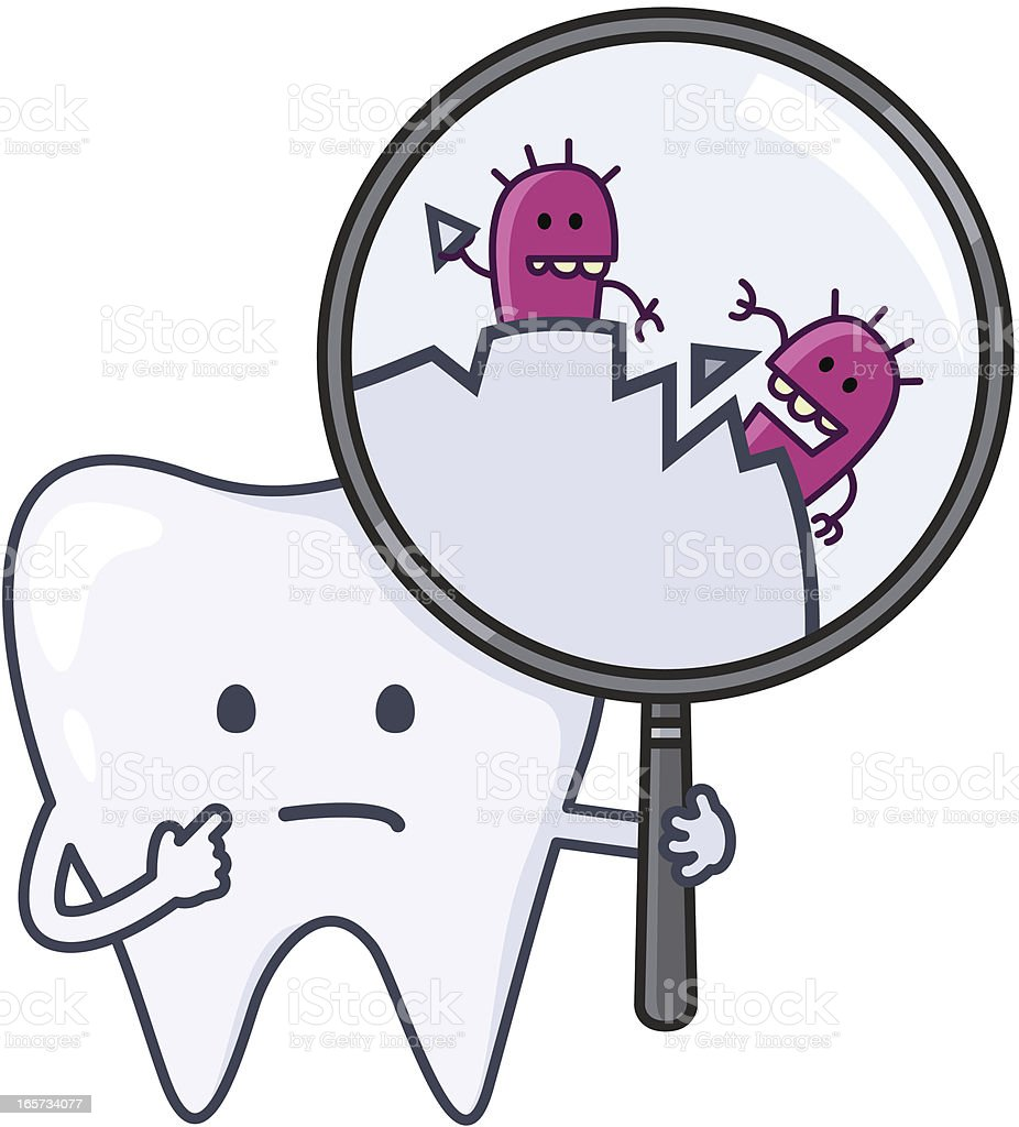 'ouch' tooth with cavities vector art illustration