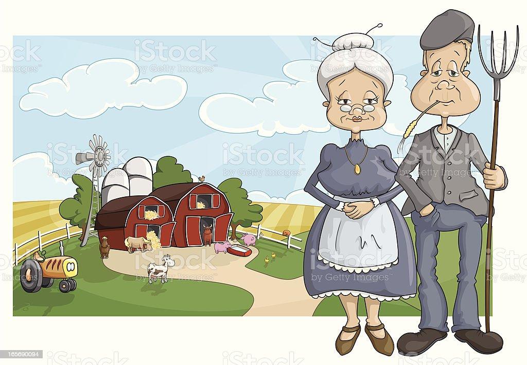 our little farm vector art illustration