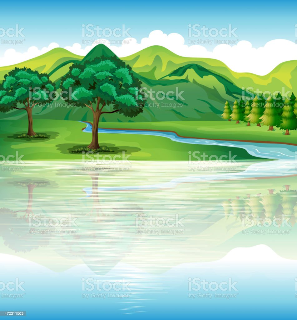 Our natural land and water resources vector art illustration
