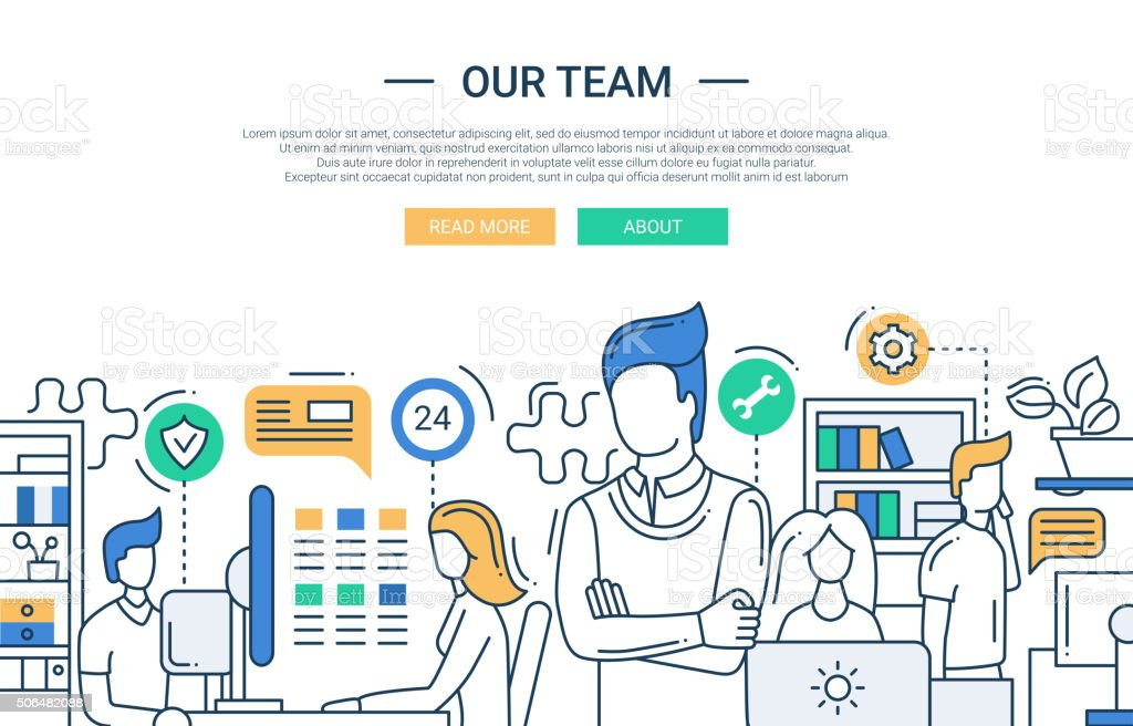 Our team line flat design banner with office workers. vector art illustration