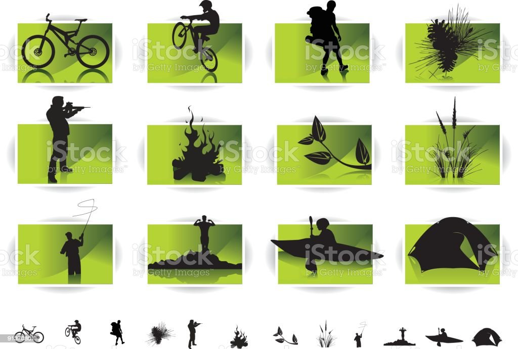 Out Door Icons vector art illustration