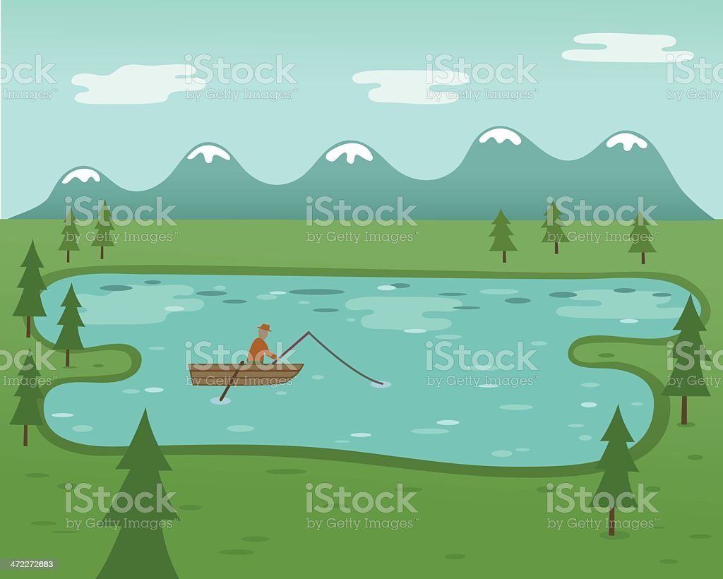 Out Fishing vector art illustration