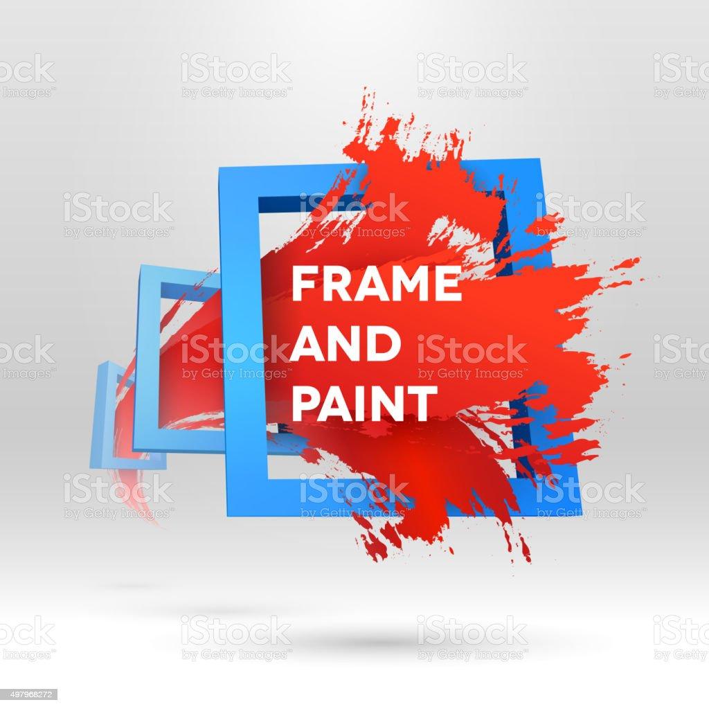 Out of frame styled brush stroke vector art illustration