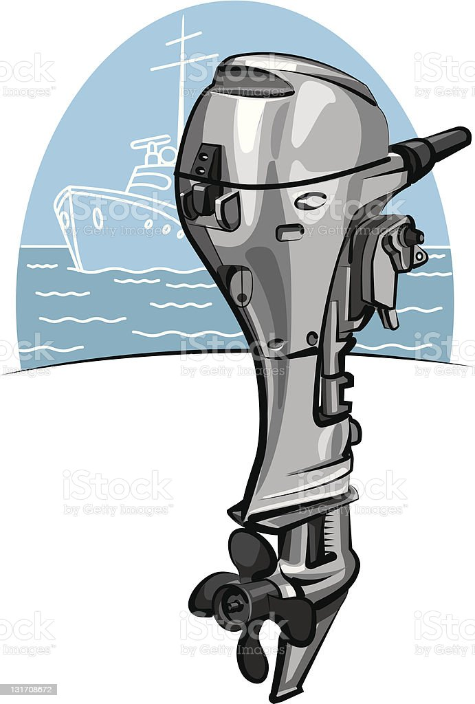Outboard boat motor royalty-free stock vector art