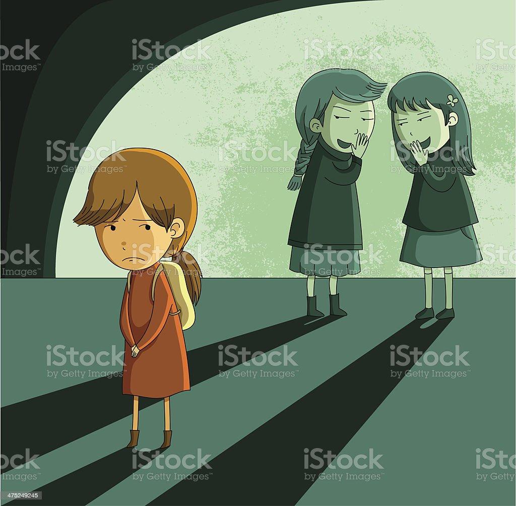 outcast girl vector art illustration