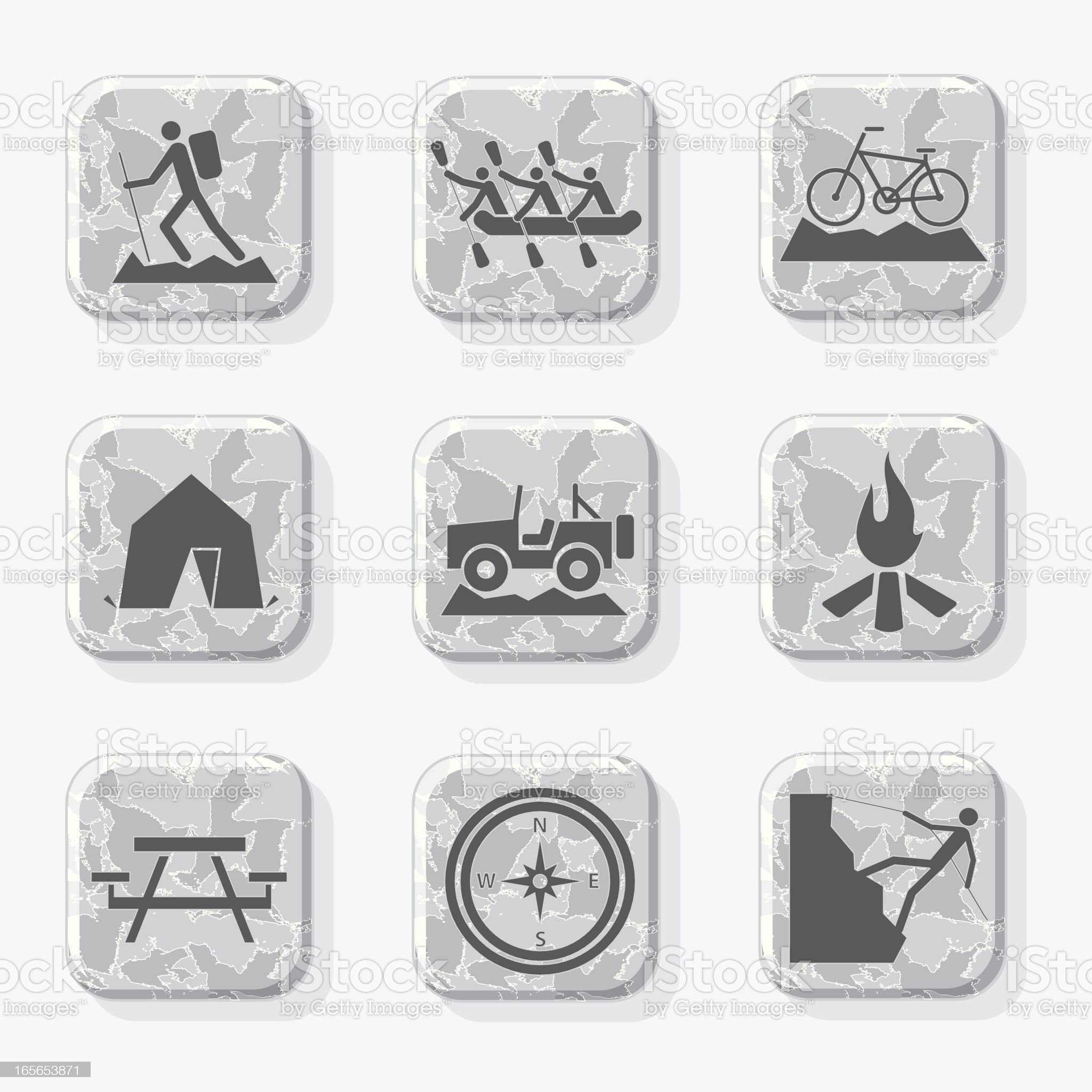 Outdoor Activities Icons in Black and White royalty-free stock vector art