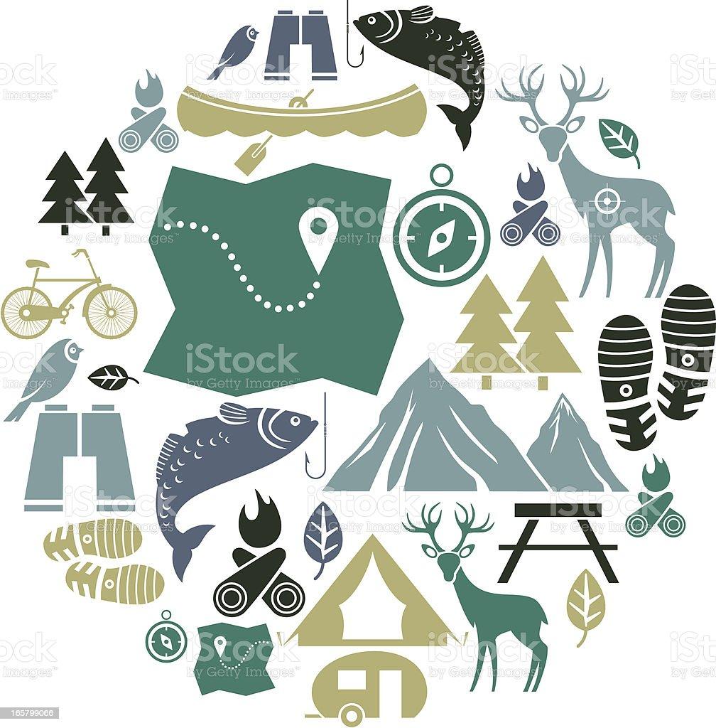 Outdoor Activity Icon Set vector art illustration