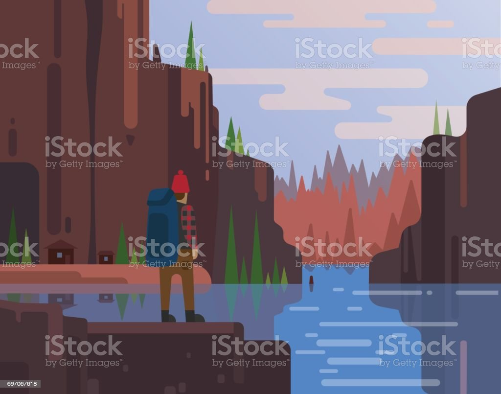 Outdoor activity on mountain landscape and lake vector art illustration