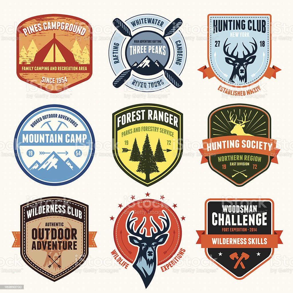 Outdoor adventure emblems royalty-free stock vector art