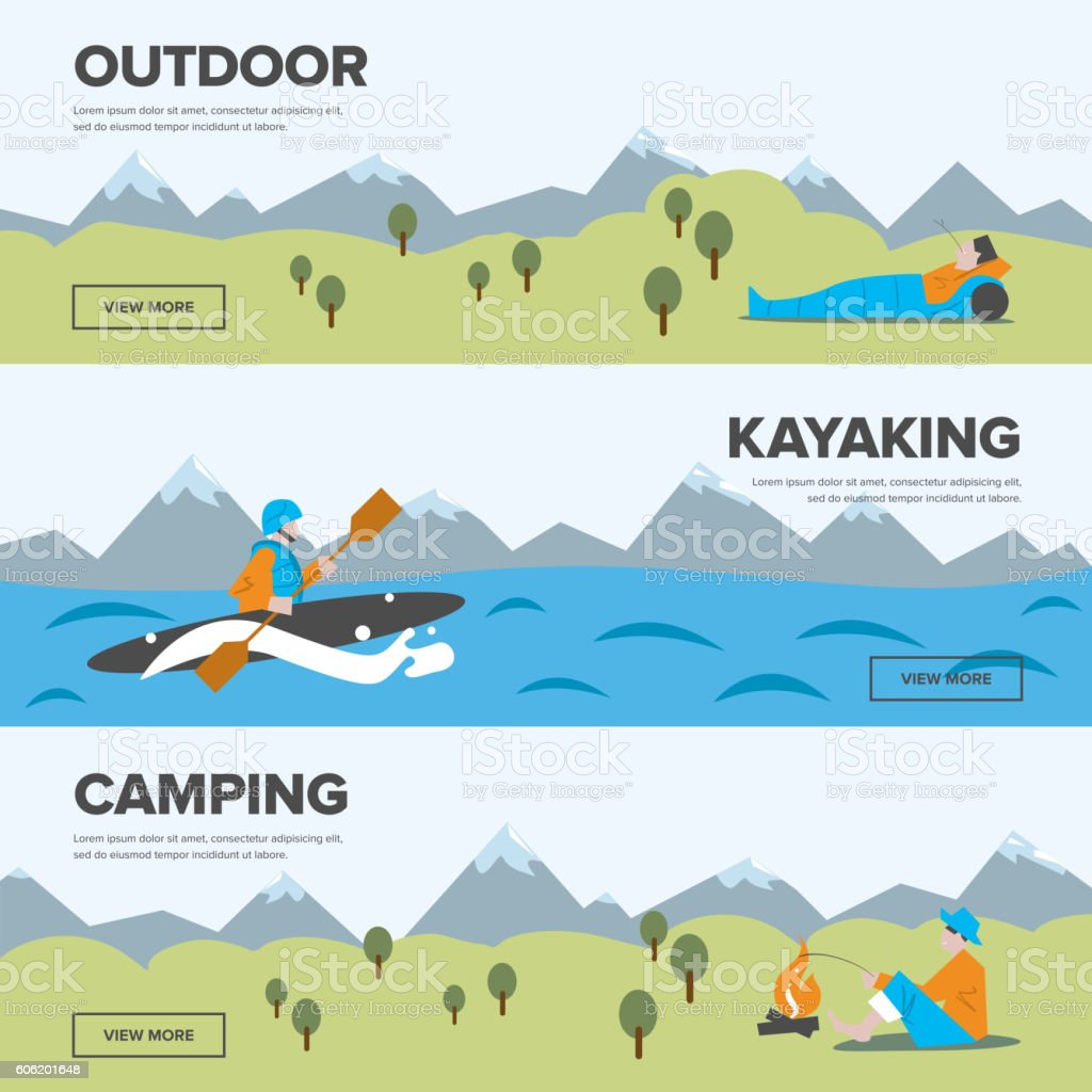 Outdoor adventure. Kayaking and camping. vector art illustration