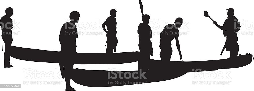 Outdoor adventures canoeing royalty-free stock vector art