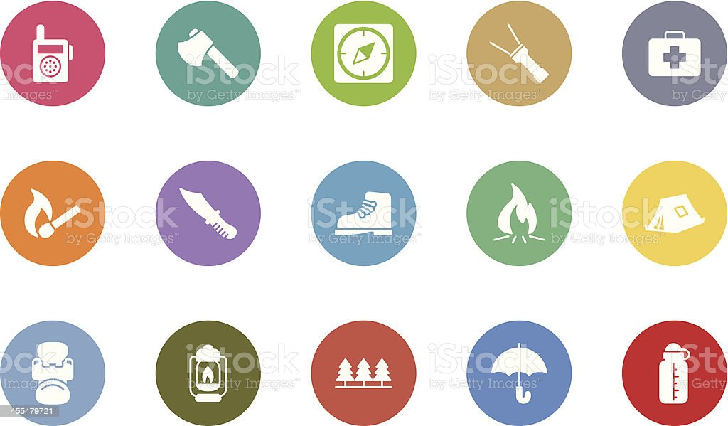 outdoor and camping icons royalty-free stock vector art