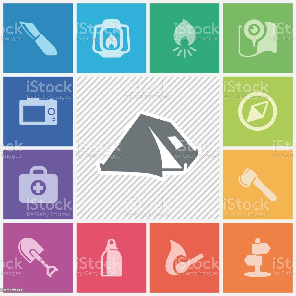 Outdoor and camping icons vector art illustration