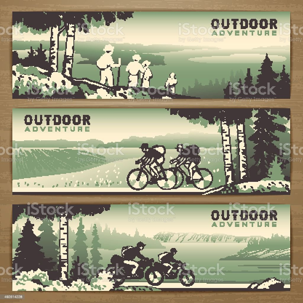 Outdoor banners vector art illustration