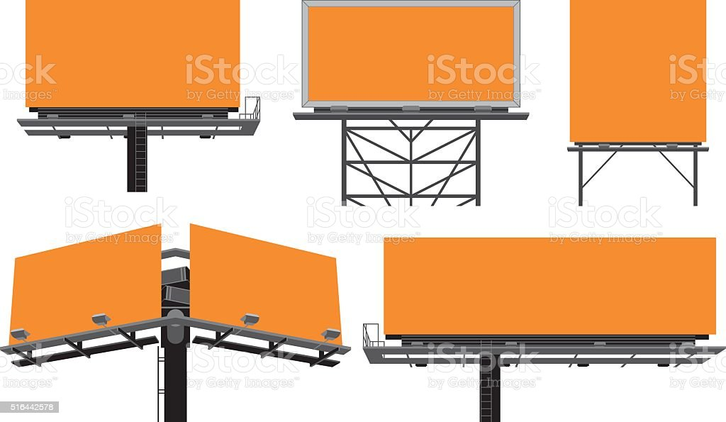 Outdoor billboards' constructions. vector art illustration