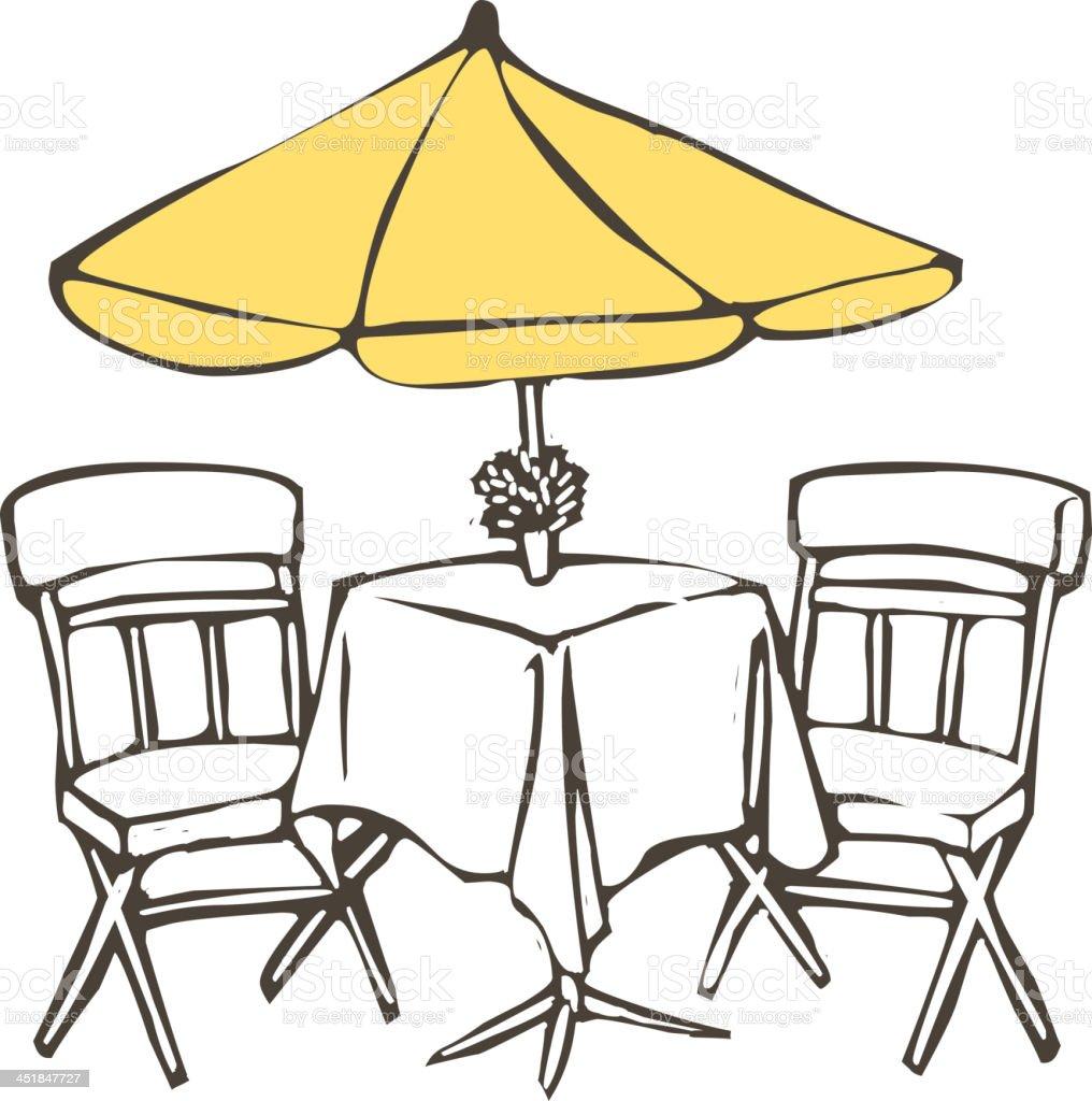 Outdoor cafe vector art illustration