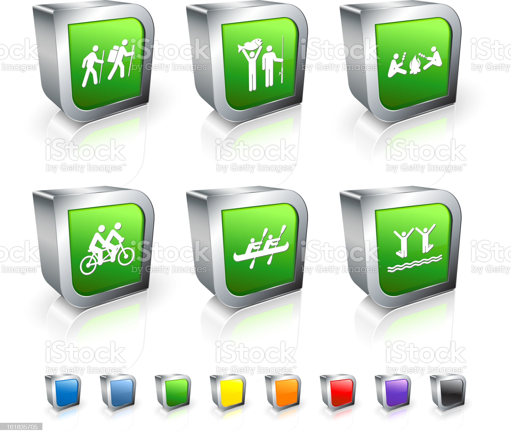 Outdoor camping Activity 3D vector icon set with Metal Rim royalty-free stock vector art