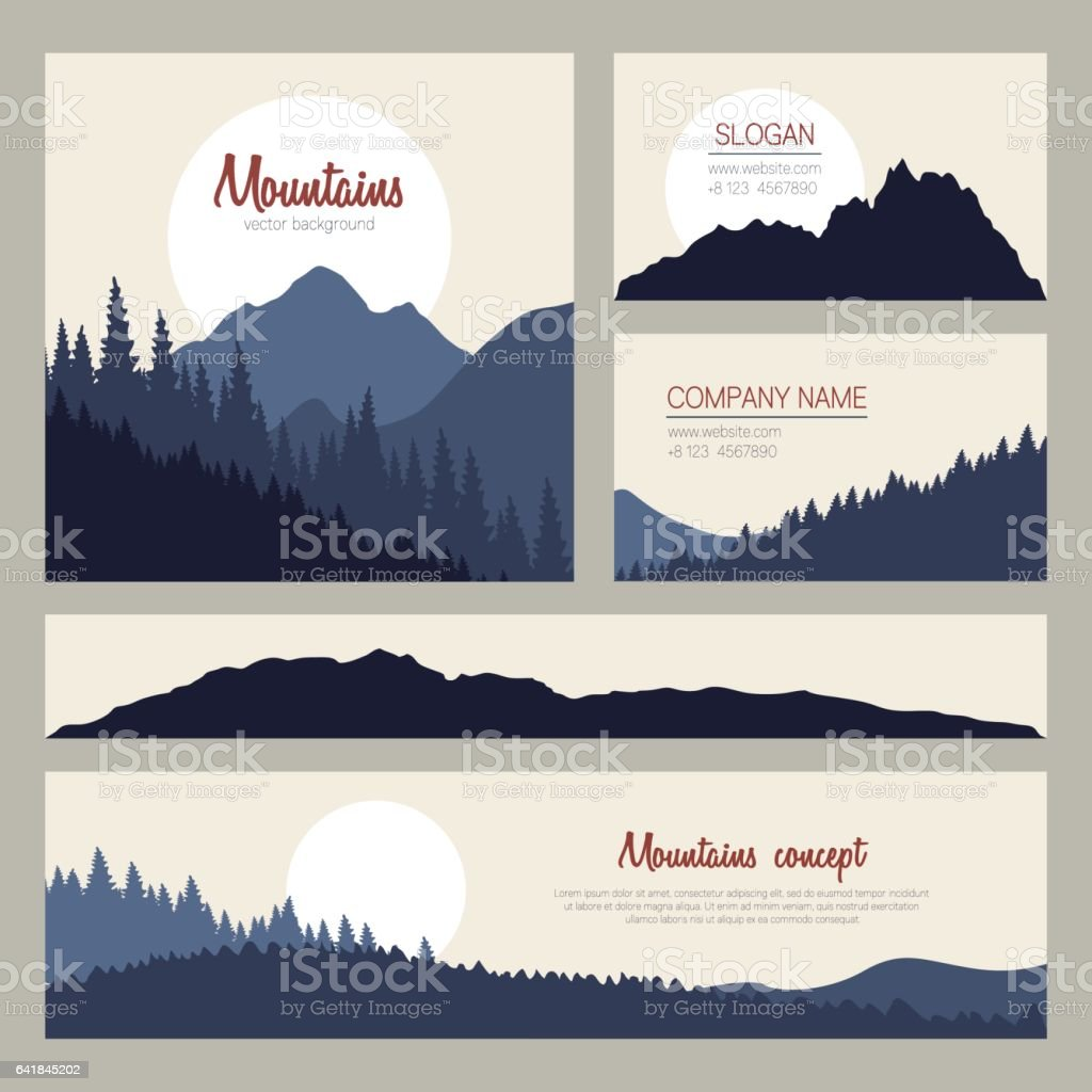 Outdoor cards design with mountains on background vector art illustration