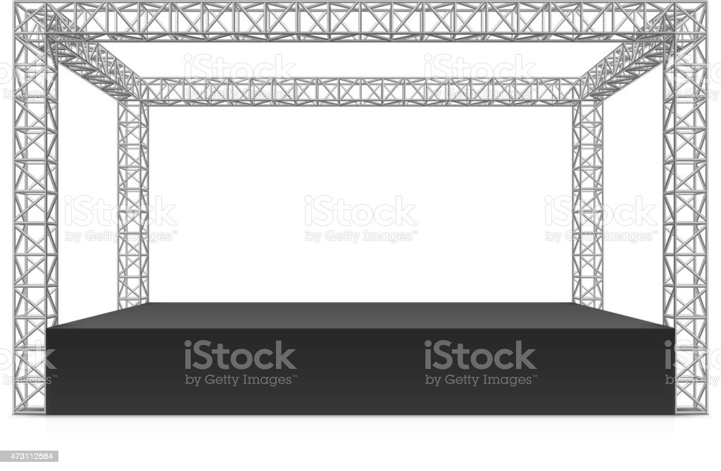 Outdoor festival stage, truss system vector art illustration