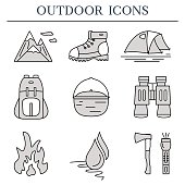 Outdoor flat icons. Set of hiking and camping outline symbols.